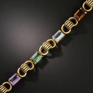 Retro Multi-Gem Link Bracelet - 2