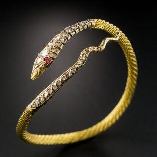 18K Rose-Cut Diamond Snake Bracelet - 1