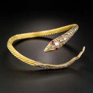 18K Rose-Cut Diamond Snake Bracelet