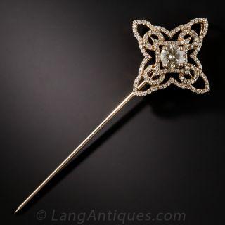 18K Rose Gold .72 Carat Center Diamond Pendant/Stickpin