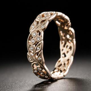18K Rose Gold and Diamond Vine Motif Band - Size 6 - 1