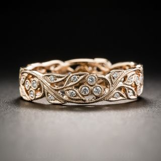 18K Rose Gold and Diamond Vine Motif Band - Size 6 only
