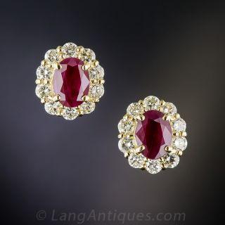 18K Ruby and Diamond Halo Earrings - 1