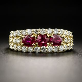 18K Ruby Diamond Band Ring - 1