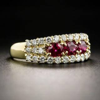 18K Ruby Diamond Band Ring