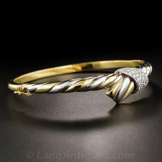 18K Two Tone Contemporay Diamond Bangle Bracelet