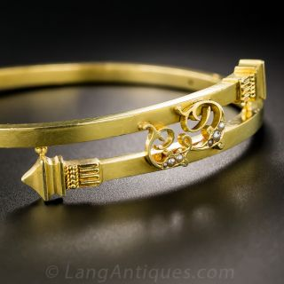 18K Victorian Bypass Bangle Bracelet