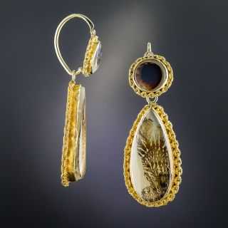 18K Victorian Day and Night Dedritic Agate Drop Earrings