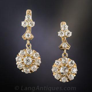 18K Victorian Diamond Drop Earrings 2.85 Carats - 2