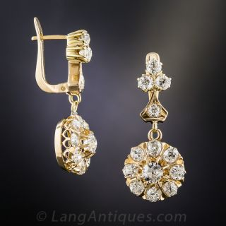 18K Victorian Diamond Drop Earrings 2.85 Carats