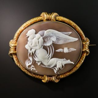 18K Victorian Angel Shell Cameo  - 2