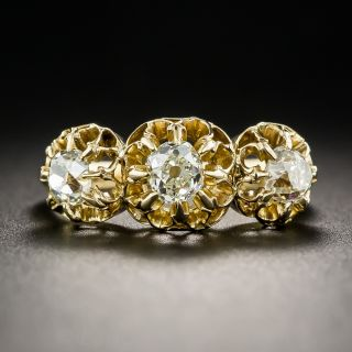 18K Victorian Three-Stone Diamond Ring