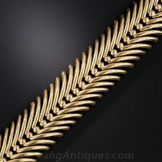 18K Vintage Spray Feather Link Bracelet