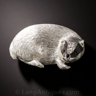 18K White Gold and Enamel English Badger Brooch