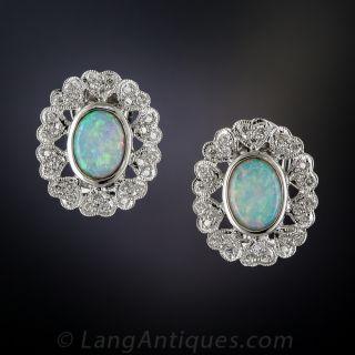 18K White Gold Opal and Diamond Earrings