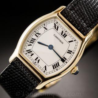 18K Yellow Gold Cartier Tortue Strap Watch - Unisex