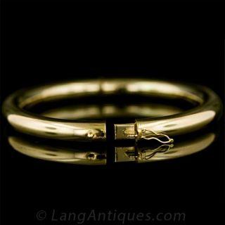 18K Yellow Gold Italian Tubular Bangle Bracelet