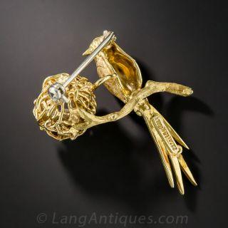 18K Yellow Gold Mommy Bird Brooch