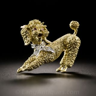 18Kt Poodle Pin