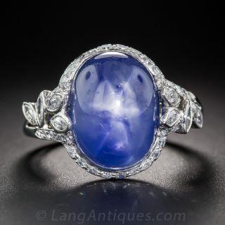 19 Carat No-Heat Burma Star Sapphire and Diamond Ring - 2