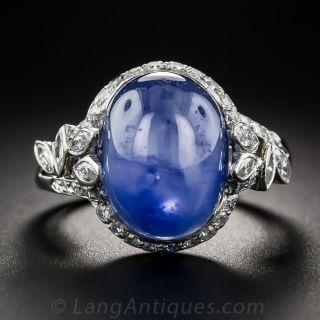 19 Carat No-Heat Burma Star Sapphire and Diamond Ring