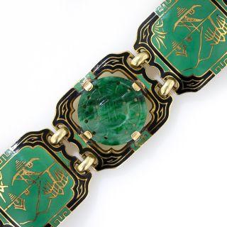 Art Deco Natural Burma Jade and Enamel Art Deco Bracelet
