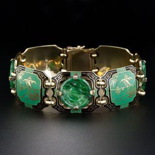 1930s Jade and Enamel Art Deco Bracelet - 3