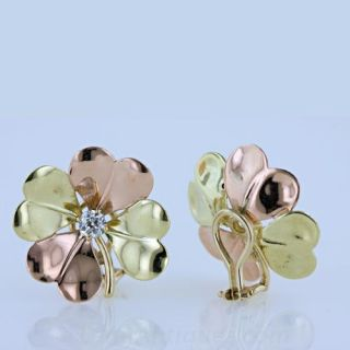 1940s 14k Two-Tone Gold and Diamond Earclips