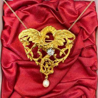 French Art Nouveau Large Griffin Necklace/Brooch