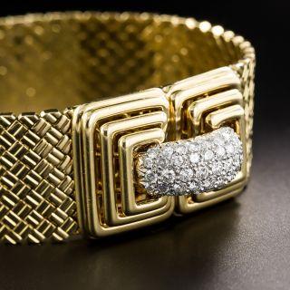 1960's Diamond Woven Mesh Bracelet from Italy