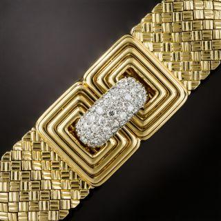 1960's Diamond Woven Mesh Bracelet from Italy - 2