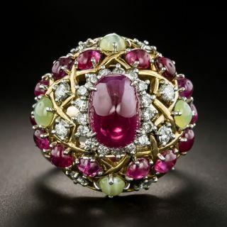 1960s Cabochon Burmese Ruby, Diamond and Cat's-Eye Chrysobberyl Ring - 3