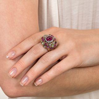 1960s Cabochon Burmese Ruby, Diamond and Cat's-Eye Chrysobberyl Ring