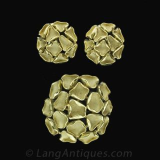 1960s Free Form Brooch and Earrings Set - 2