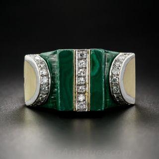 1960s Malachite and Diamond Pagoda Ring
