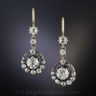 2.00 Carat Centers Antique Diamond Cluster Drop Earrings