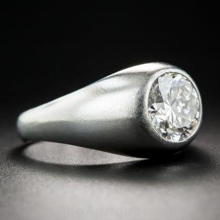 2.00 Carat European-Cut Diamond Platinum Flush-Set Ring