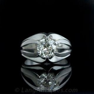 Estate Diamond Platinum Gents Ring
