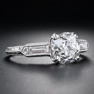 2.01 Carat Cushion-Cut Diamond Art Deco Style Solitaire Engagement Ring
