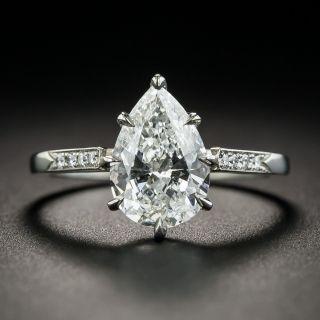 2.01 Pear Shape Diamond Platinum Engagement Ring -  GIA F I1 - 2