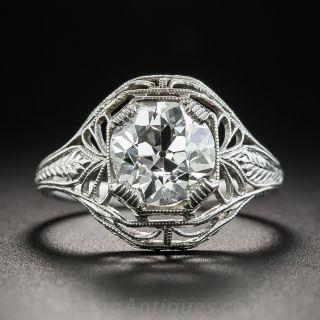 2.02 Carat Art Deco Platinum Diamond Engagement Ring - GIA I SI2