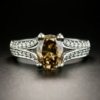 2.02 Carat Natural Fancy Dark Yellowish Brown Oval Diamond Ring - GIA  - 1