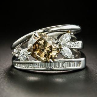 2.02 Carat Oval Fancy Dark Yellowish Brown Diamond Ring - GIA SI1 - 1