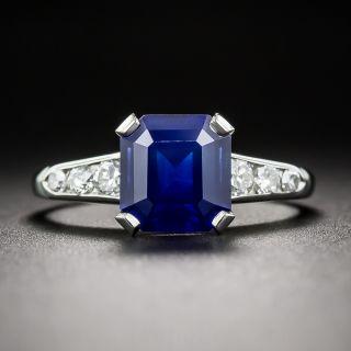 2.02 Carat Square Cut Sapphire, Platinum and Diamond Ring