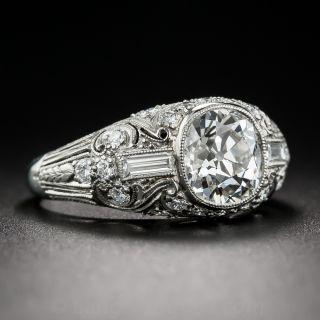 2.06 Carat Cushion Cut Diamond and Platinum Art Deco Ring  GIA I-VS1