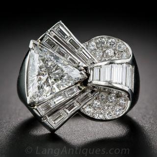 2.09 Carat Center Deco/Retro Diamond and Platinum Cocktail Ring - GIA - 1