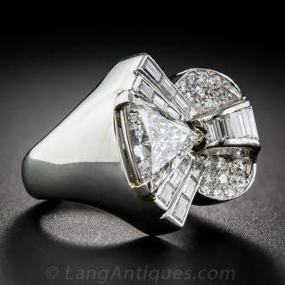 2.09 Carat Center Deco/Retro Diamond and Platinum Cocktail Ring - GIA