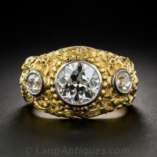 2.10 Carat Center Diamond Antique Three-Stone Ring - 1