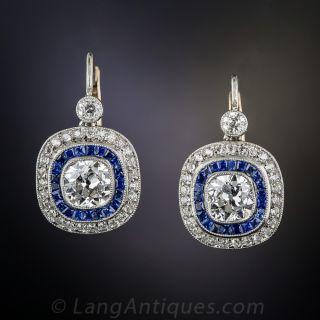 2.10 Carat Diamond and Sapphire Art Deco Style Earrings