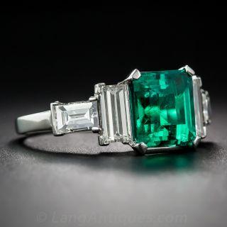 2.14 Carat Gem Colombian Emerald and Diamond Ring